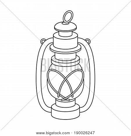 Portable kerosene lamp.African safari single icon in outline style vector symbol stock illustration .