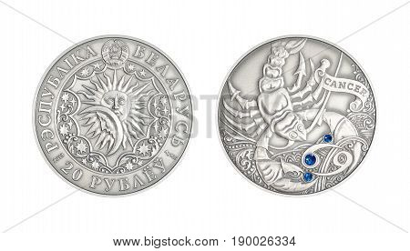Silver coin 20 Belarus rubles Astrological sign Cancer