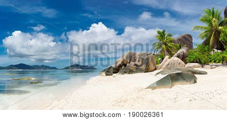 Anse Source d'Argent beach panorama, La Digue, Seyshelles