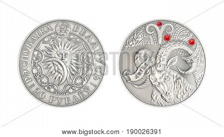 Silver coin 20 Belarus rubles Astrological sign Aries