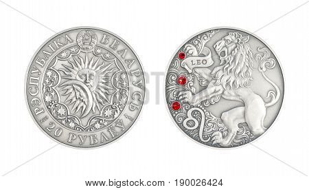 Silver coin 20 Belarus rubles Astrological sign Leo