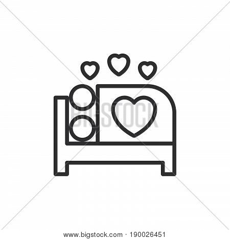 Make love in bed line icon outline vector sign linear style pictogram isolated on white. Sex symbol logo illustration. Editable stroke. Pixel perfect
