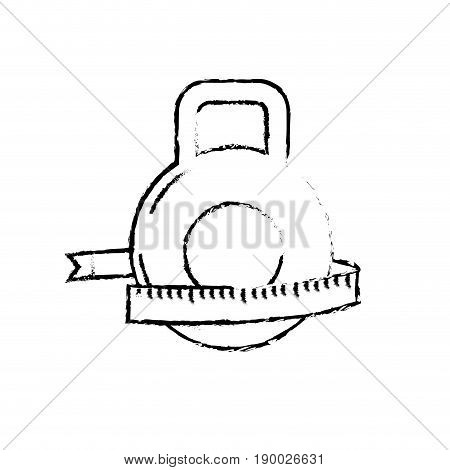 figure dumbbell with measuring to healthy lifestyle vector illustration
