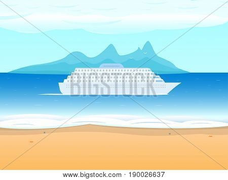 Vector illustration of a big cruise ship on the background of the sea. View from the beach to the ocean. The concept of a round-the-world trip on a ship, passenger cruise liner.