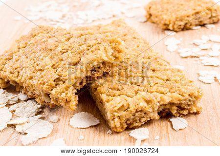 Oatmeal cereal bar on a cutting board
