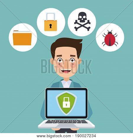 blue color background laptop with security shield against espionage vector illustration
