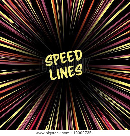 Fast speed warp vector effect. Lines Zoom Fade Converging Background. Comic book Element, Ray Power