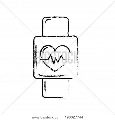 figure smartwatch to know the rhythm cardiac vector illustration
