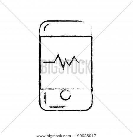 figure technology smartphone with cardiac rhythm vector illustration