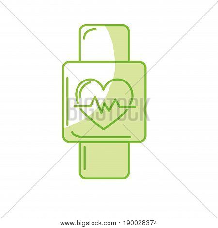 silhouette smartwatch to know the rhythm cardiac vector illustration