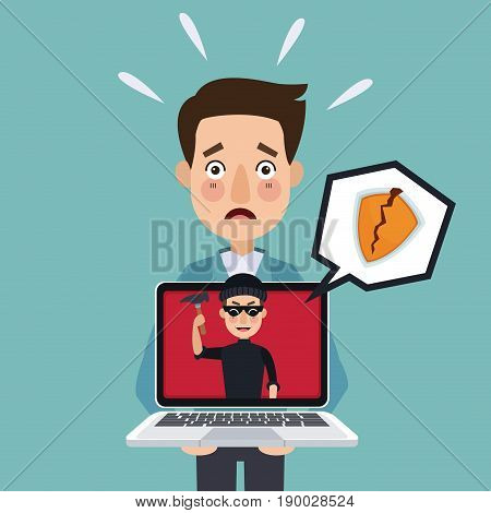 blue background programmer man with laptop and thief man hacker attempting against security vector illustration