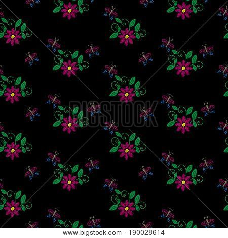Seamless pattern with embroidery stitches imitation little flower butterfly and green leaf. Floral embroidery pattern vector background for printing on fabric paper for scrapbook gift wrap.