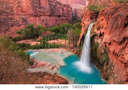 Red cliffs and Havasu Falls in the Grand Canyon, Arizona