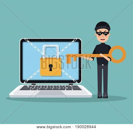 scene color laptop with padlock and chains crossed and thief man hacker with key to stealing vector illustration