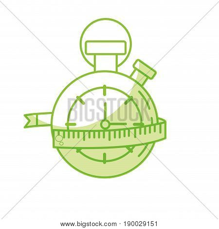 silhouette chronometer with measuring to practice exercise vector illustration