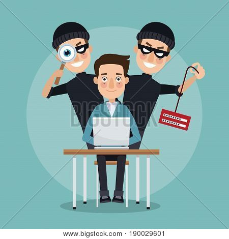 scene color programmer man in desk with laptop and pair thief men hacker stealing information and spying vector illustration