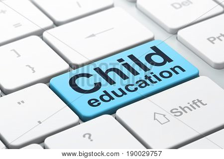 Studying concept: computer keyboard with word Child Education, selected focus on enter button background, 3D rendering