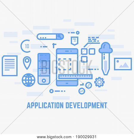 Application design or programming. Flat style line vector. Mobile phone with web designer tools. Color picker photos ruler documents and elements. Thin line modern style. App development.
