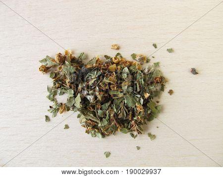 Common hawthorn flowers and leaves, Crataegi folium cum flore