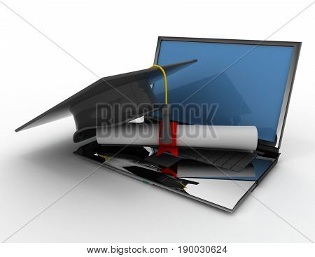 graduation cap with diploma. e-learning concept  .3D rendered illustration