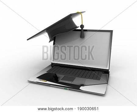 graduation cap with diploma. e-learning concept  . 3D rendered illustration