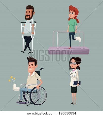 color background set female doctor specialist with people in rehabilitation vector illustration