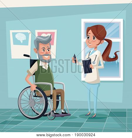 color background hospital room with elderly man in wheelchair and female therapist vector illustration