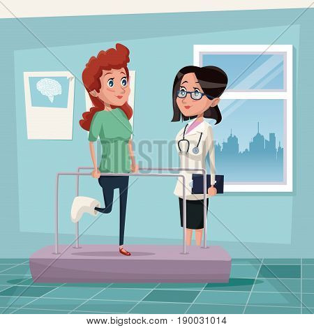 color background hospital room with woman in rehabilitation and female therapist vector illustration