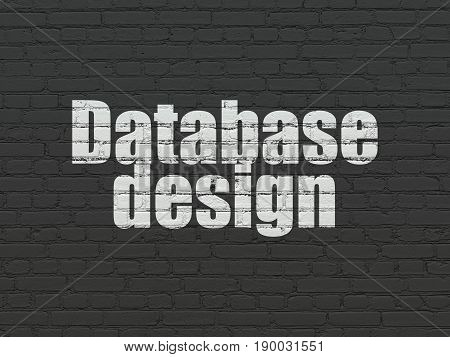 Software concept: Painted white text Database Design on Black Brick wall background