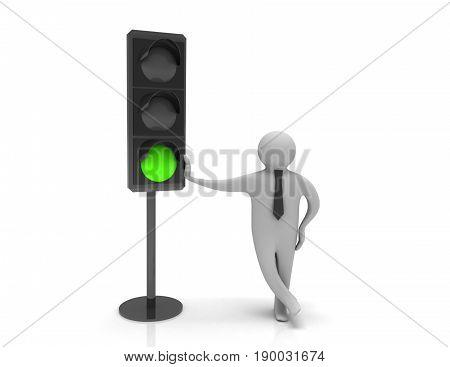 3d man and traffic light , rendered illustrartion