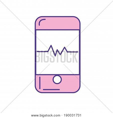 technology smartphone with cardiac rhythm vector illustration