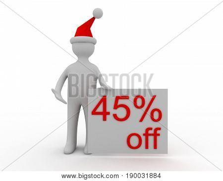 3d Christmas sales concept 45% off , rendered illustrartion