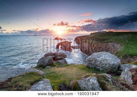 Sunset at Land's End in Cornwall by the sea