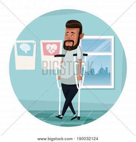 circular frame with color scene hospital room with man in crutches rehabilitation vector illustration