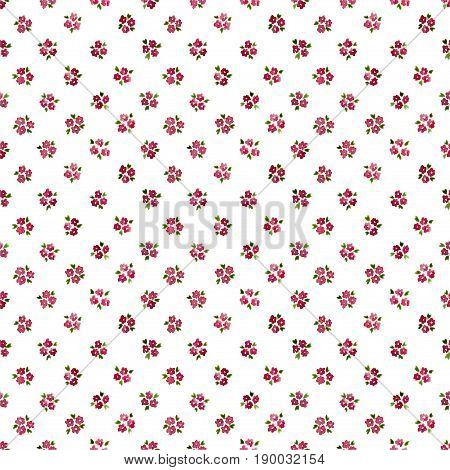 Calico Watercolor Forget Me Not Pattern. Unique Seamless Cute Small Flowers For Fabric Design. Calic