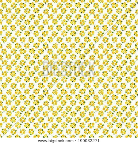 Calico Watercolor Forget Me Not Pattern. Good-looking Seamless Cute Small Flowers For Fabric Design.