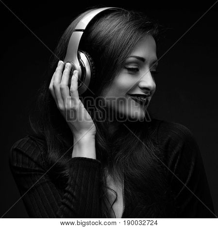 Beautiful Happy Smiling Long Hair Young Woman Profile Listening The Music In Wireless Yellow Headpho