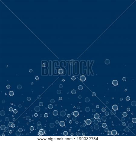 Soap Bubbles. Scatter Bottom Gradient With Soap Bubbles On Deep Blue Background. Vector Illustration