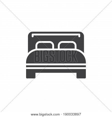 Double bed icon vector filled flat sign solid pictogram isolated on white. Symbol logo illustration. Pixel perfect