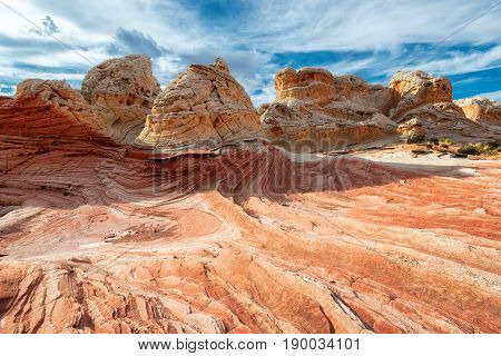 Plateau from white and red sandstone, vermilion cliffs. The area of White Pocket on the Paria Plateau in Northern Arizona, USA
