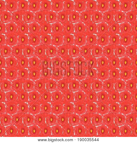 Red strawberry seamless texture pattern with yellow seed and small water drops, fruit detailed background, fresh surface texture of berries