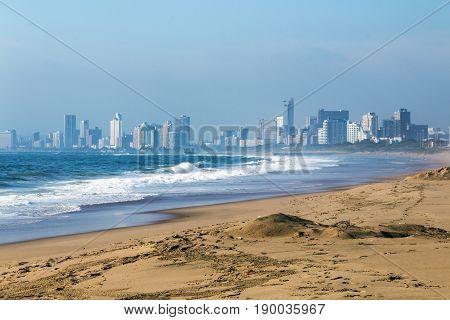 Sand beach and shoreline against