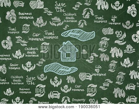 Insurance concept: Chalk Blue House And Palm icon on School board background with  Hand Drawn Insurance Icons, School Board