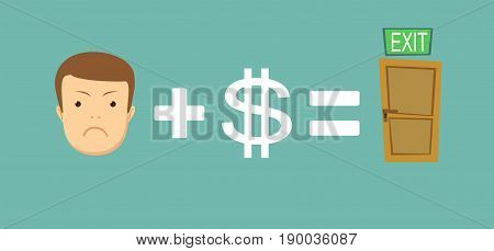 sad face plus money equal to solving the problem .Man find a way out. Stock vector illustration for poster, greeting card, website, ad, business presentation, advertisement design.