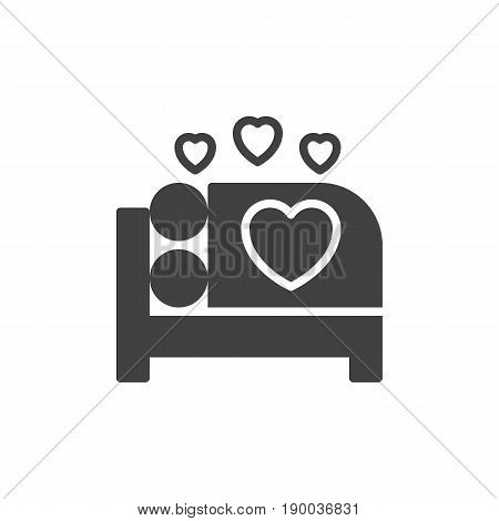Make love in bed icon vector filled flat sign solid pictogram isolated on white. Sex symbol logo illustration. Pixel perfect