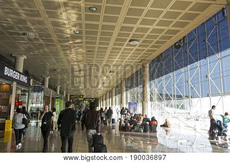 Barcelona International Airport Interior. Airport If One Of The Biggest In Europe And The Second Lar