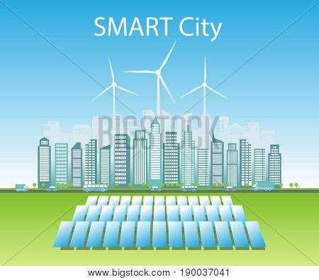 Smart cities consume alternative natural energy sources: wind energy and solar energy. Background place for text