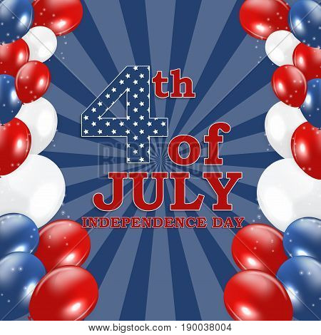 Fourth of July, Independence day of the United States. Happy Birthday America. Vector Illustration EPS10