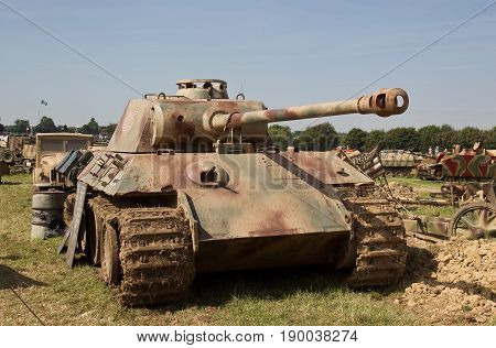 WESTERNHANGER, UK - JULY 18: A WW2 ex Wehrmacht Panther tank is parked in the living history section on public display at the War & Peace Revival show on July 18, 2014 in Westernhanger