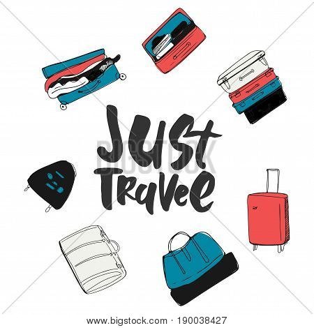 Travel more. Motivation quote. Hand drawn set of different travel bags and suitcases. Vector illustration